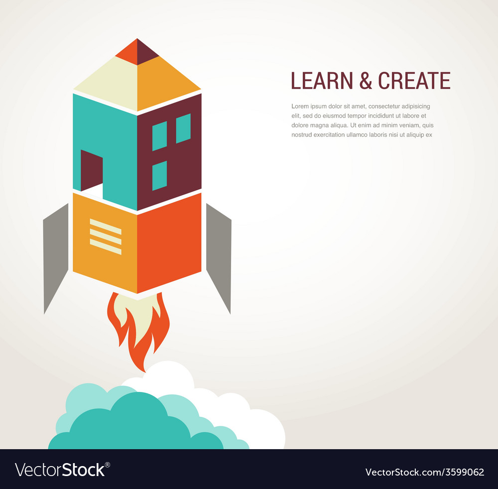 Education rocket online learning concept vector | Price: 1 Credit (USD $1)