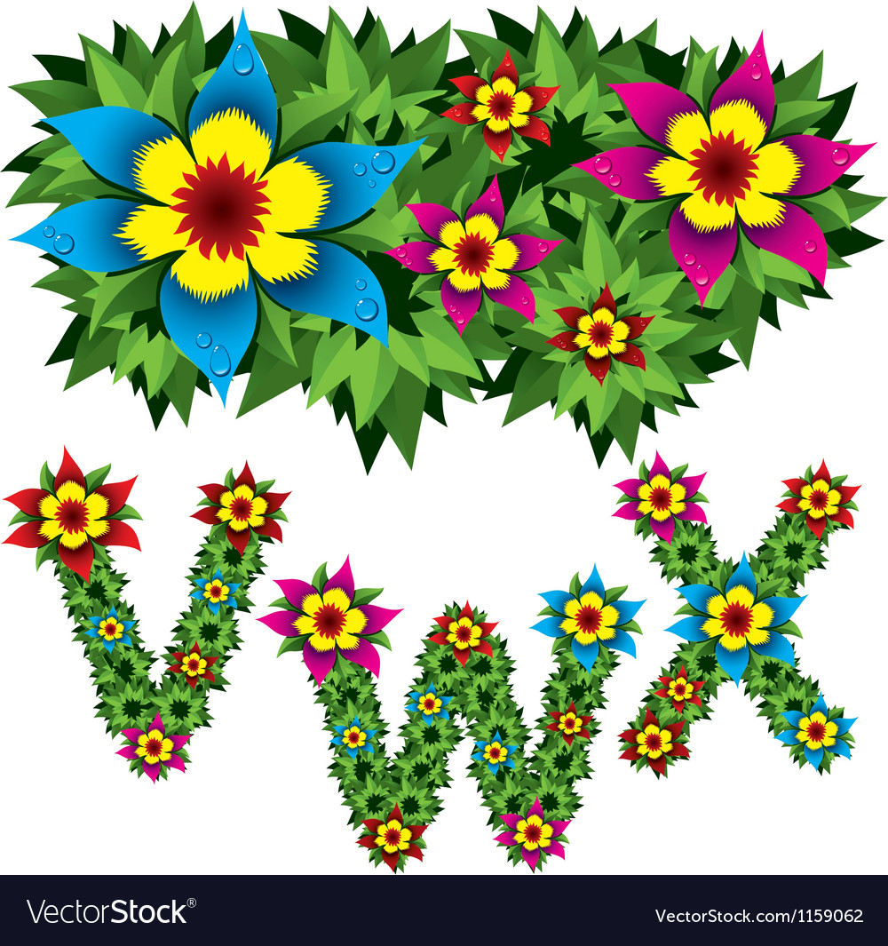 Flowers alphabet 08 vector | Price: 1 Credit (USD $1)