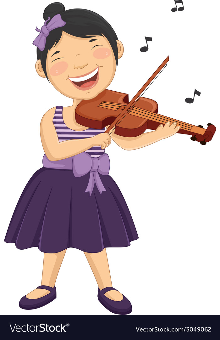 Of a little girl playing violi vector | Price: 1 Credit (USD $1)