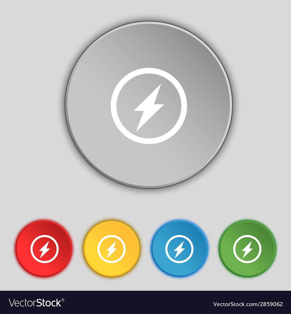 Photo flash sign icon lightning symbol set vector   Price: 1 Credit (USD $1)
