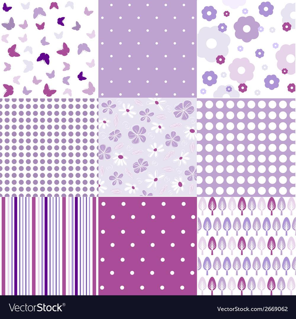 Seamless vintage floral background set vector