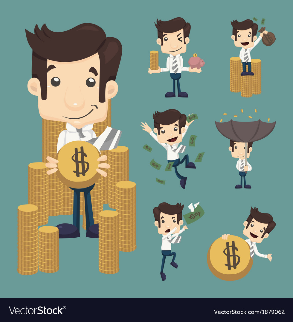 Set of businessman make money characters poses vector | Price: 1 Credit (USD $1)