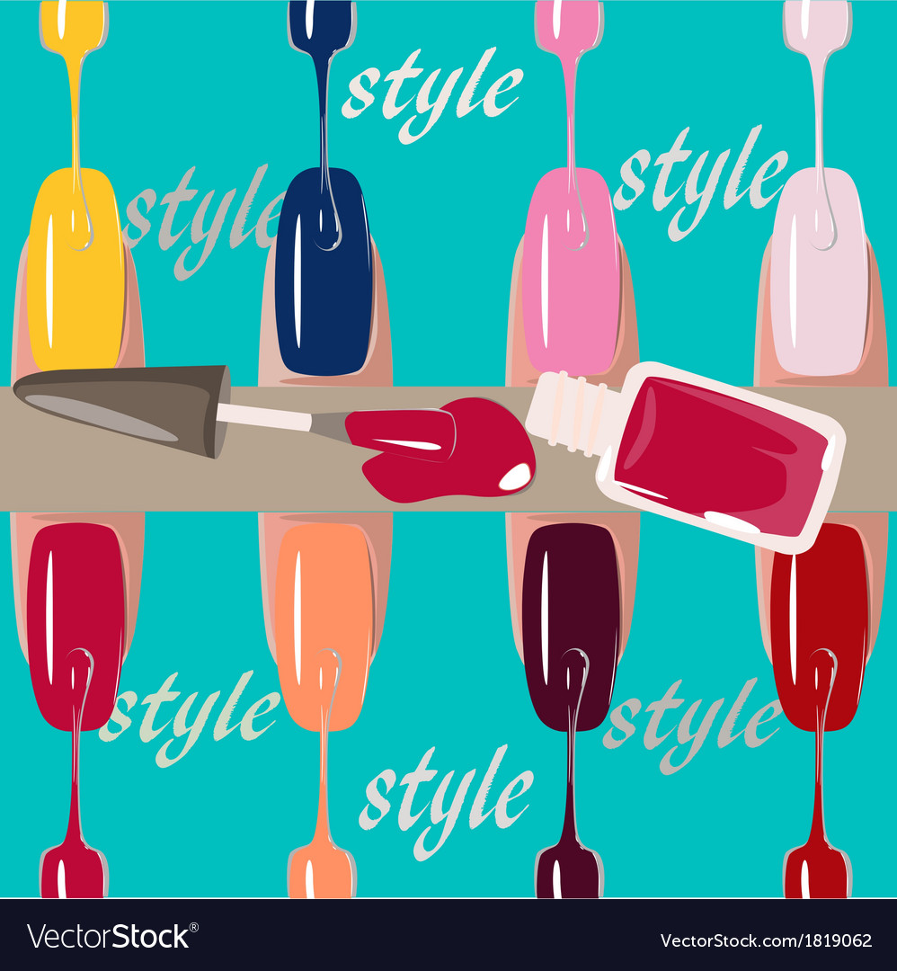 Set of multicolored nail polish brushes vector | Price: 1 Credit (USD $1)