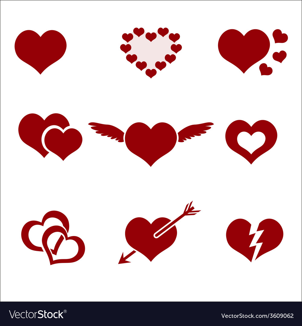 Set of red valentine hearth love symbols eps10 vector | Price: 1 Credit (USD $1)