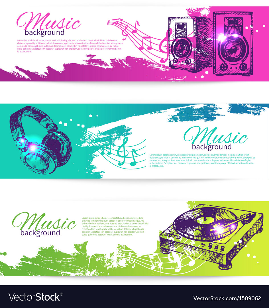 Vintage banners of music design vector | Price: 1 Credit (USD $1)