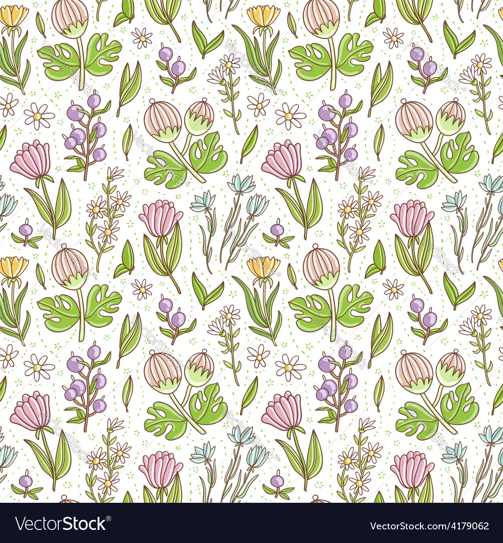 Wild floral colorful seamless pattern background vector | Price: 1 Credit (USD $1)