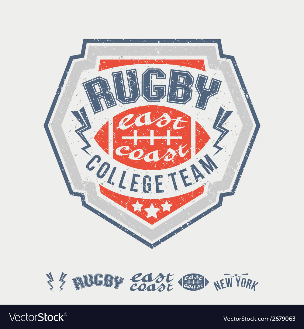 College east coast rugby team emblem and icons vector | Price: 1 Credit (USD $1)