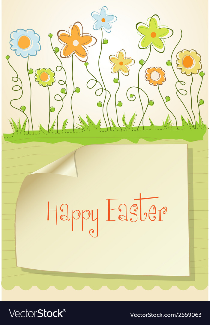 Easter greeting card with spring flowers vector | Price: 1 Credit (USD $1)