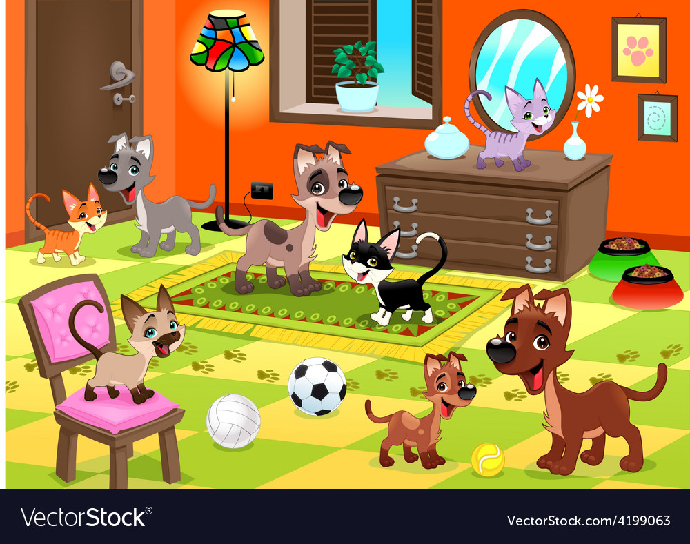 Family of cats and dogs in the house vector | Price: 1 Credit (USD $1)