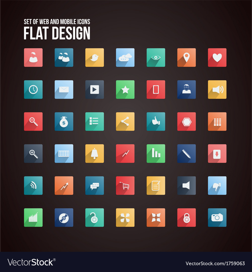 Flat icon set 2 vector | Price: 1 Credit (USD $1)