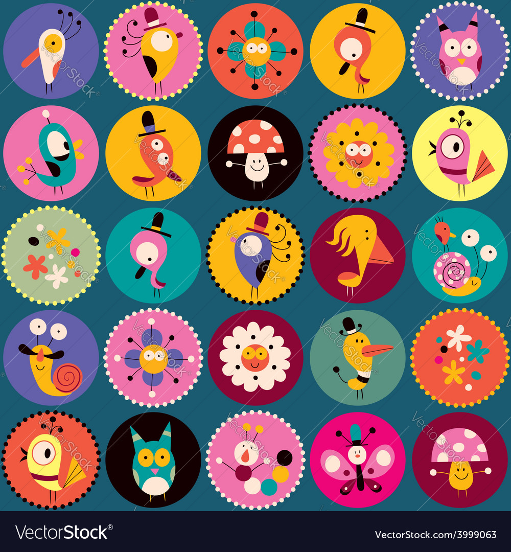 Flowers birds mushrooms snails characters circles vector | Price: 1 Credit (USD $1)
