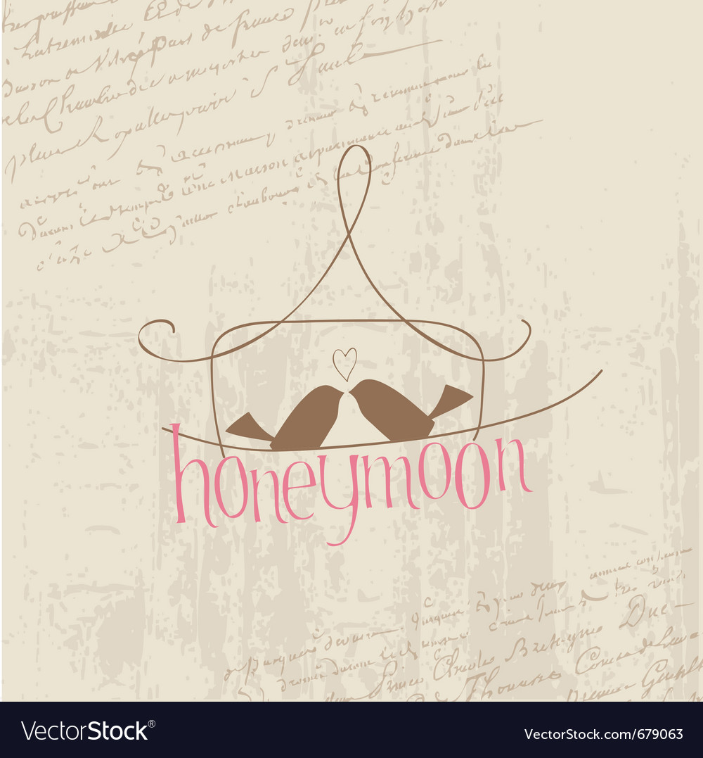 Honeymoon love birds card vector | Price: 1 Credit (USD $1)