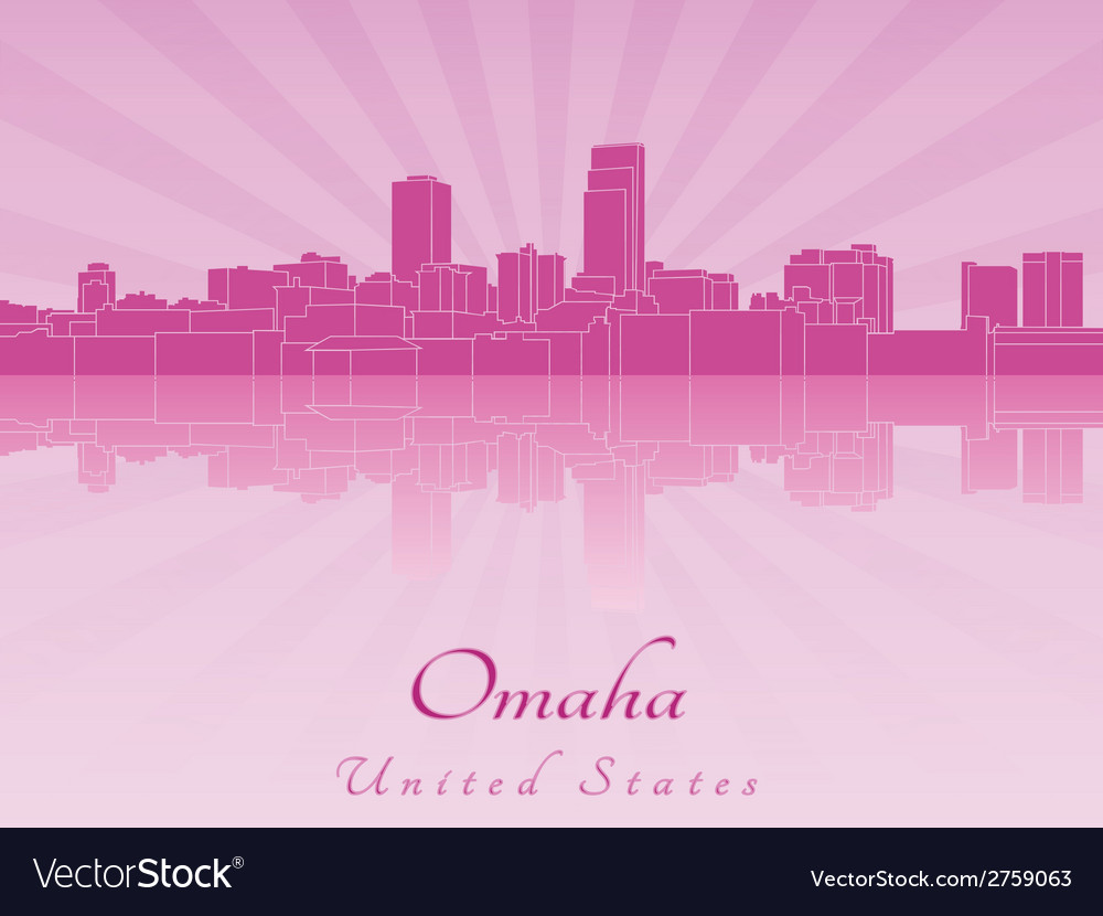 Omaha skyline in radiant orchid vector | Price: 1 Credit (USD $1)