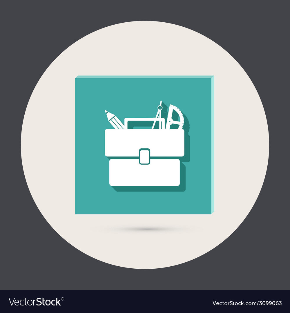 School bag with stationery symbol office or school vector   Price: 1 Credit (USD $1)