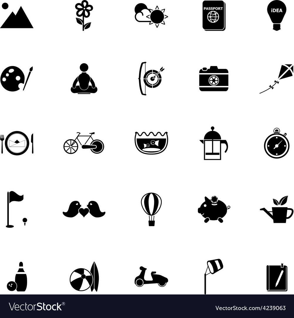Slow life activity icons on white background vector | Price: 1 Credit (USD $1)