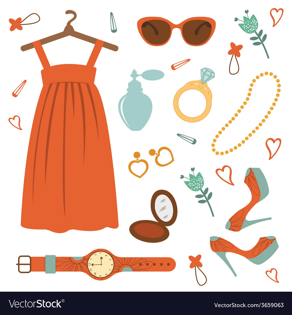 Stylish fashion elements colorful collection vector | Price: 1 Credit (USD $1)