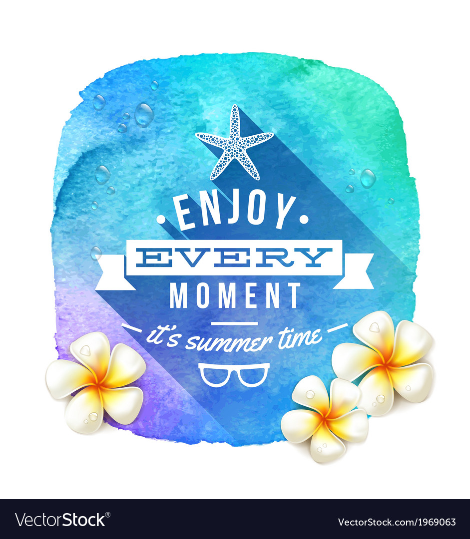 Summer time greeting and frangipani flowers vector | Price: 1 Credit (USD $1)