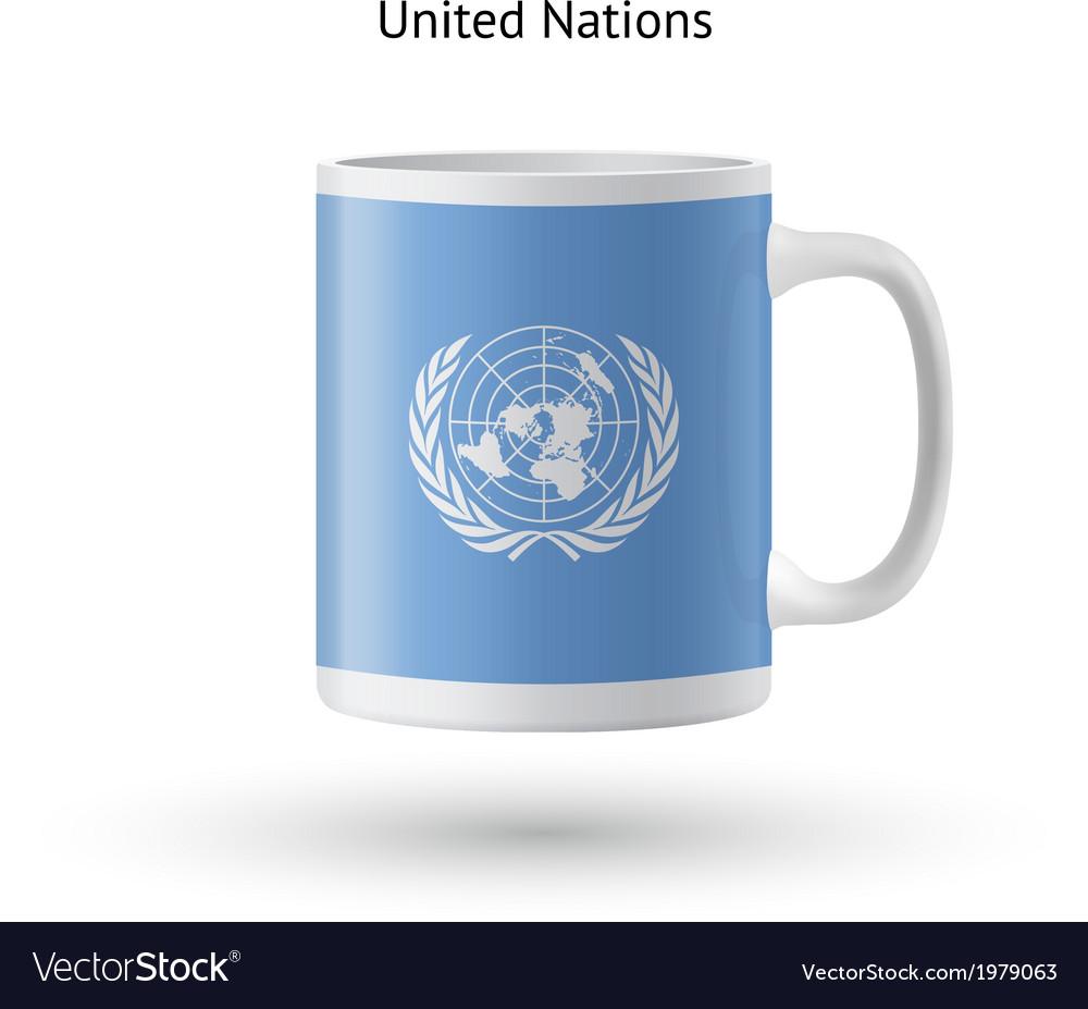 United nations flag souvenir mug on white vector | Price: 1 Credit (USD $1)