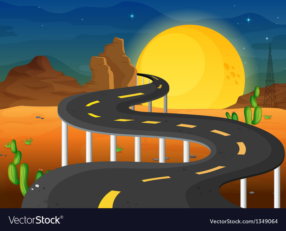 A fullmoon at the end of the winding road vector | Price: 1 Credit (USD $1)