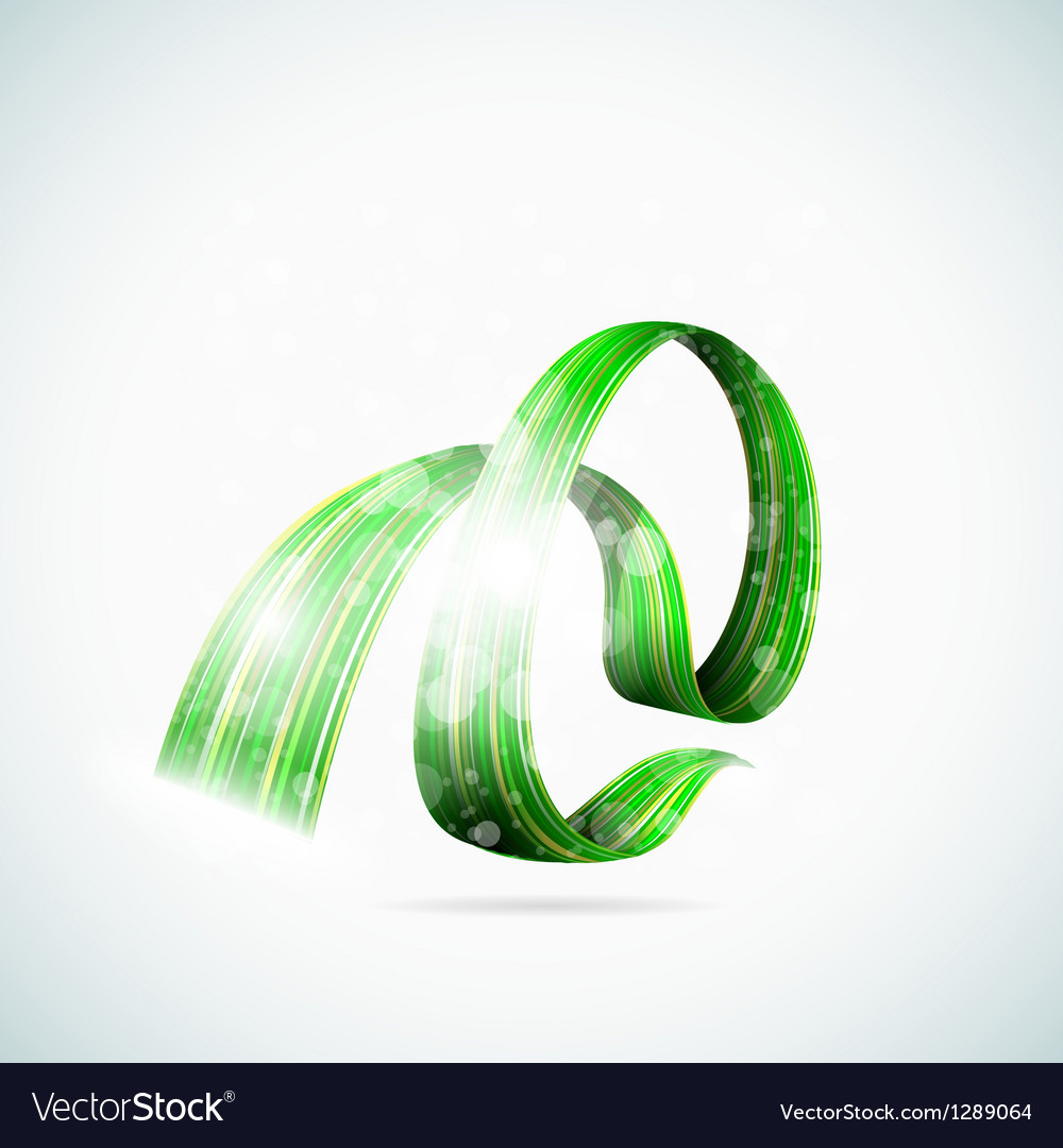Abstract green shiny ribbons vector | Price: 1 Credit (USD $1)