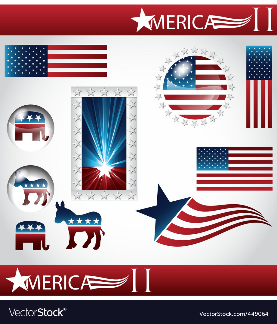 American flag set vector