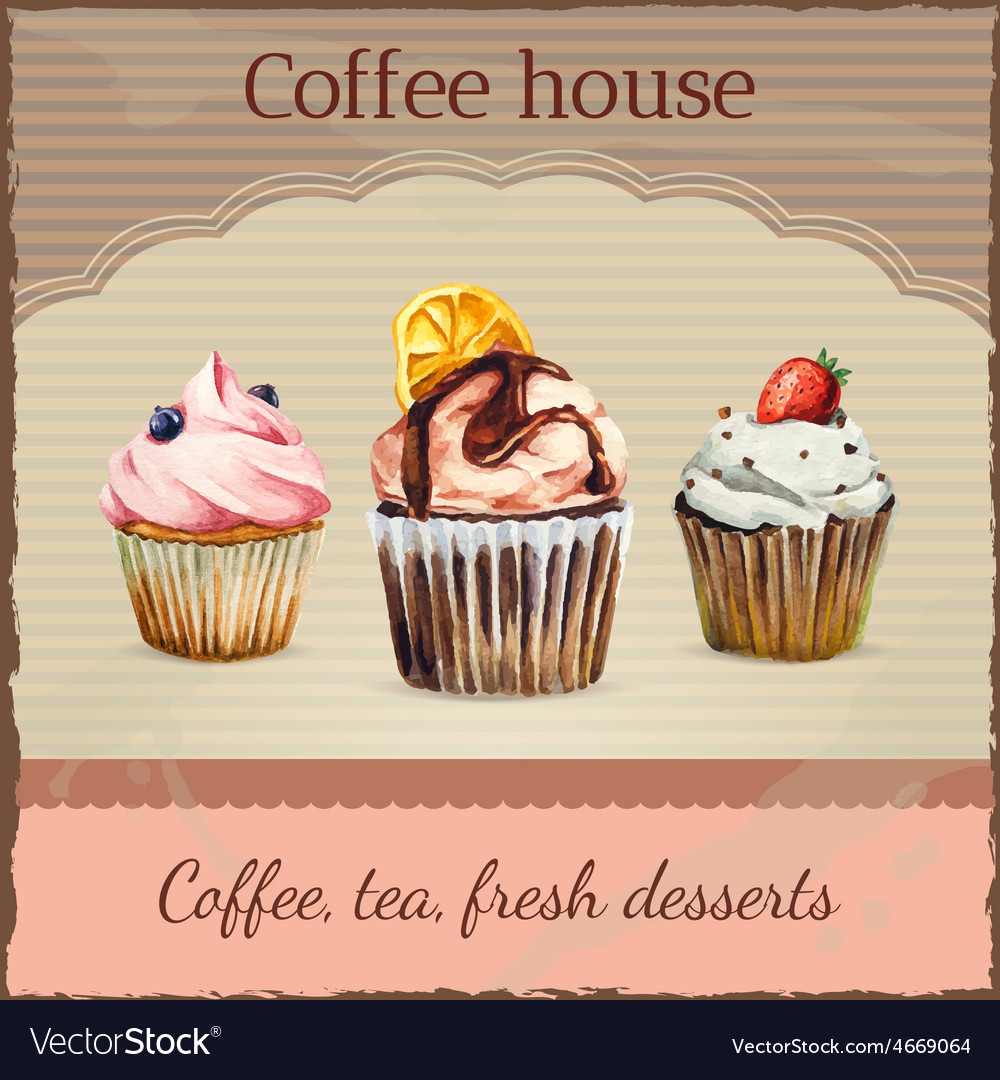 Coffee house advertisement with watercolor vector | Price: 1 Credit (USD $1)