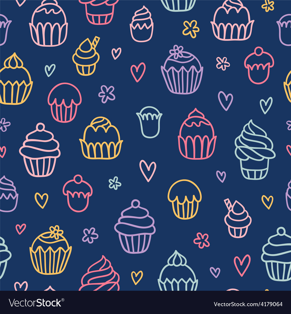 Cupcakes outlined colorful seamless pattern on vector | Price: 1 Credit (USD $1)