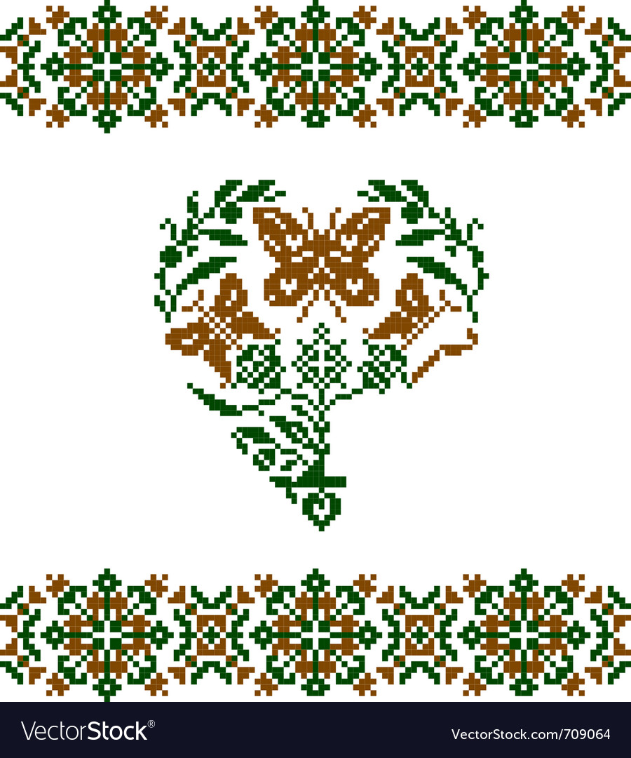 Embroidered heart vector | Price: 1 Credit (USD $1)