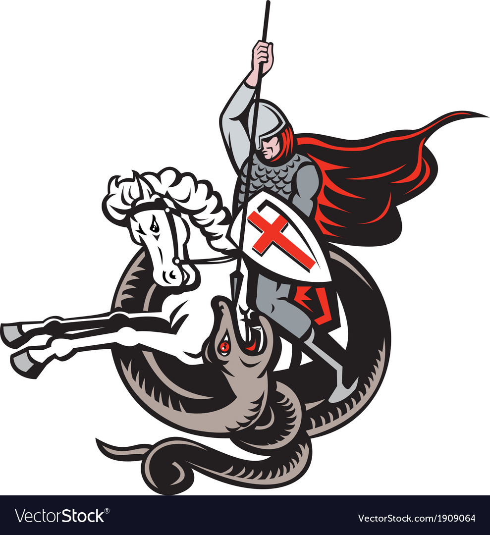 English knight fighting dragon england flag shield vector | Price: 3 Credit (USD $3)