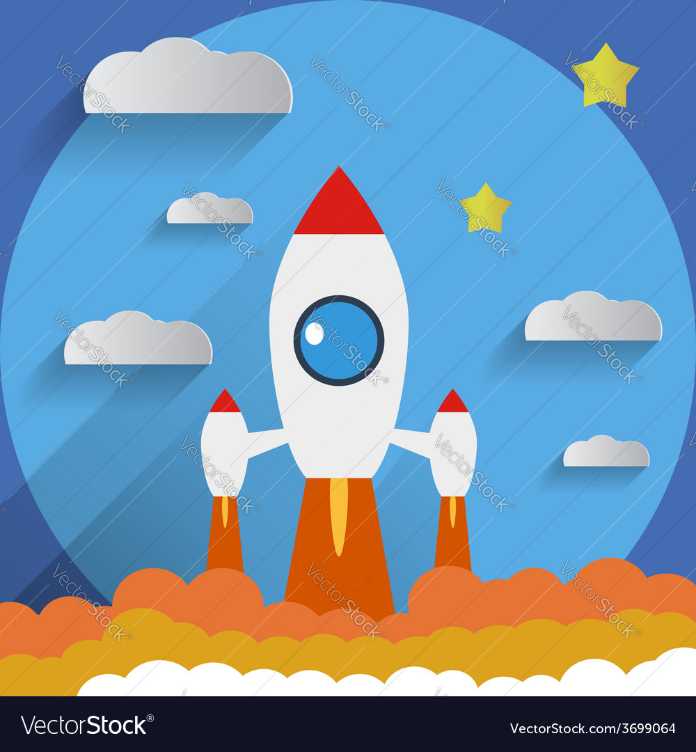 Flat design rocket start stars background vector | Price: 1 Credit (USD $1)