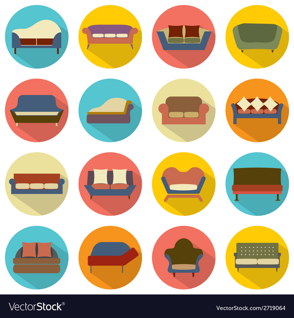 Flat design sofa icons vector | Price: 1 Credit (USD $1)
