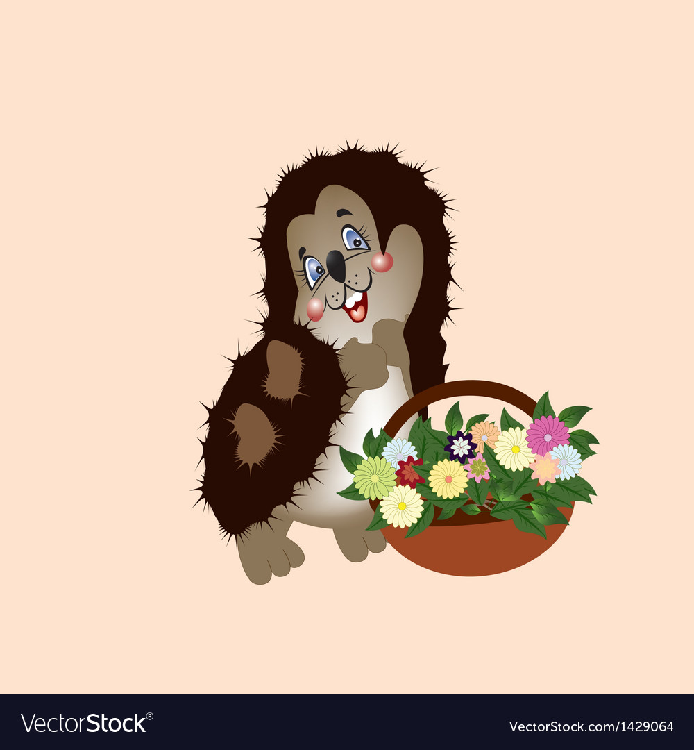 Hedgehog with a basket of wild flowers vector | Price: 1 Credit (USD $1)