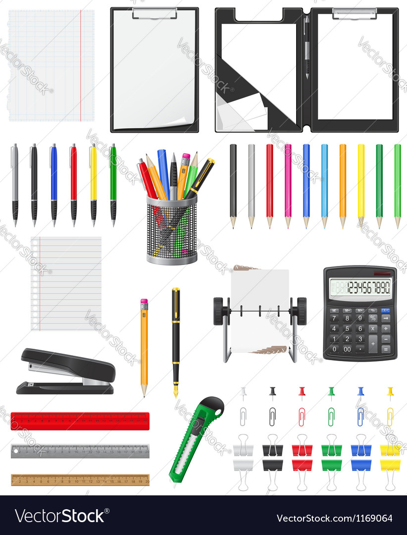 Stationery set 01 vector | Price: 3 Credit (USD $3)