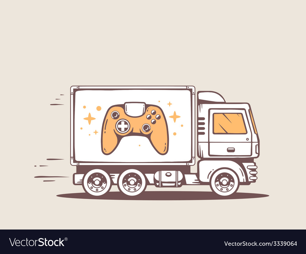 Truck free and fast delivering joystick t vector | Price: 1 Credit (USD $1)