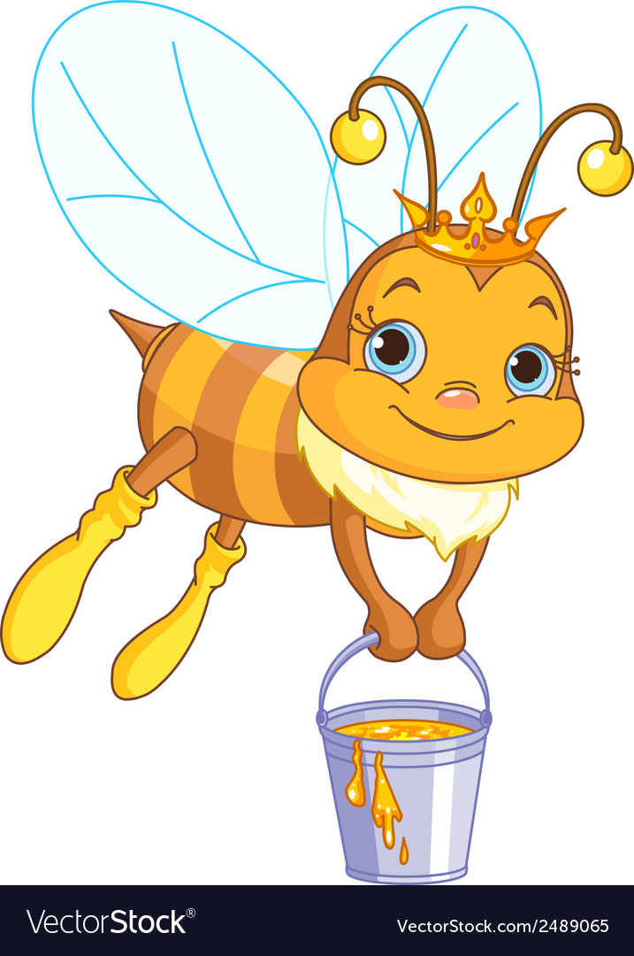 Bee holding a honey bucket vector | Price: 1 Credit (USD $1)