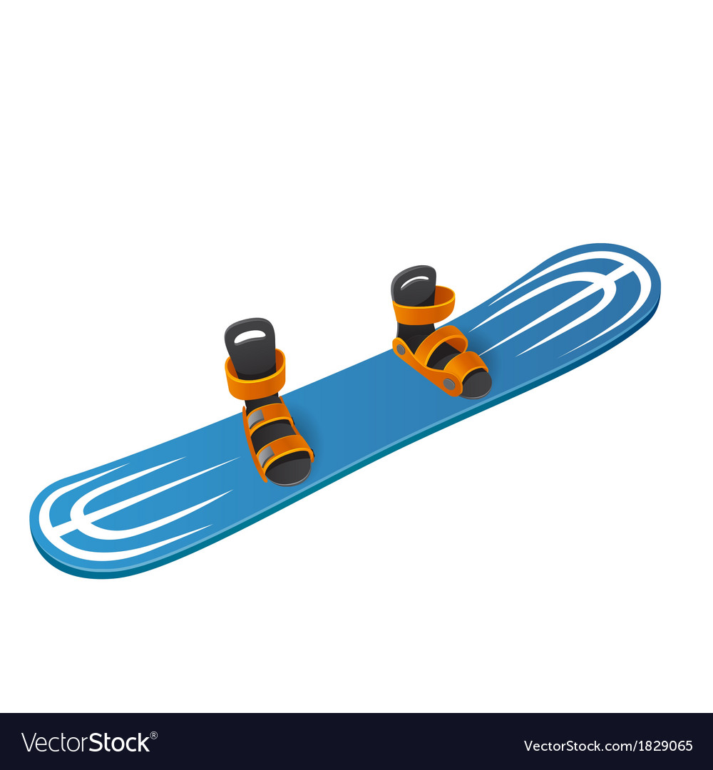 Blue snowboard on white background vector | Price: 1 Credit (USD $1)