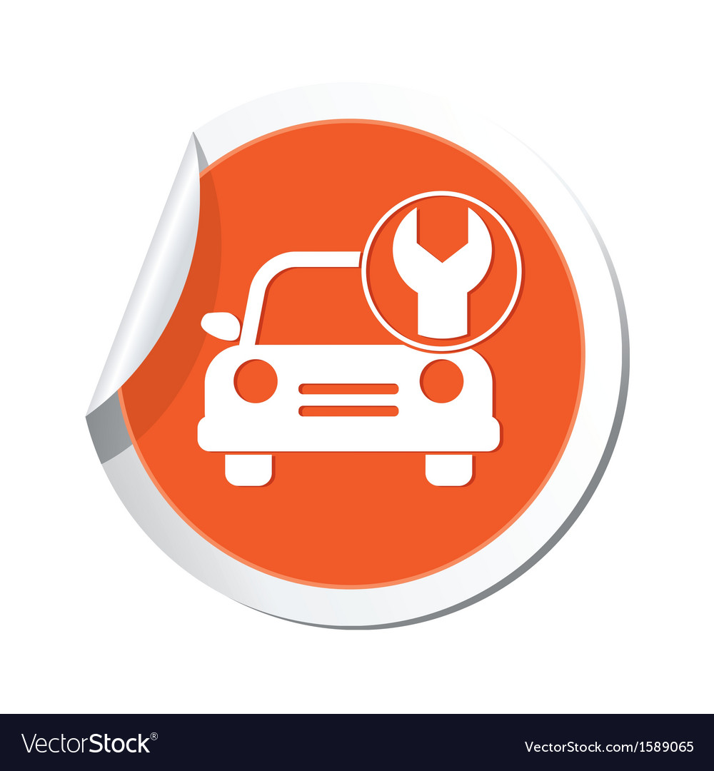 Car with tool icon orange label vector | Price: 1 Credit (USD $1)