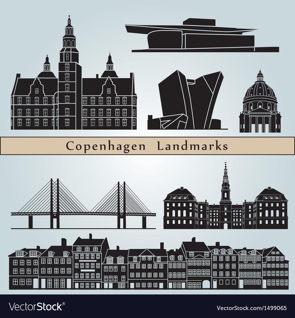 Copenhagen landmarks and monuments vector | Price: 3 Credit (USD $3)