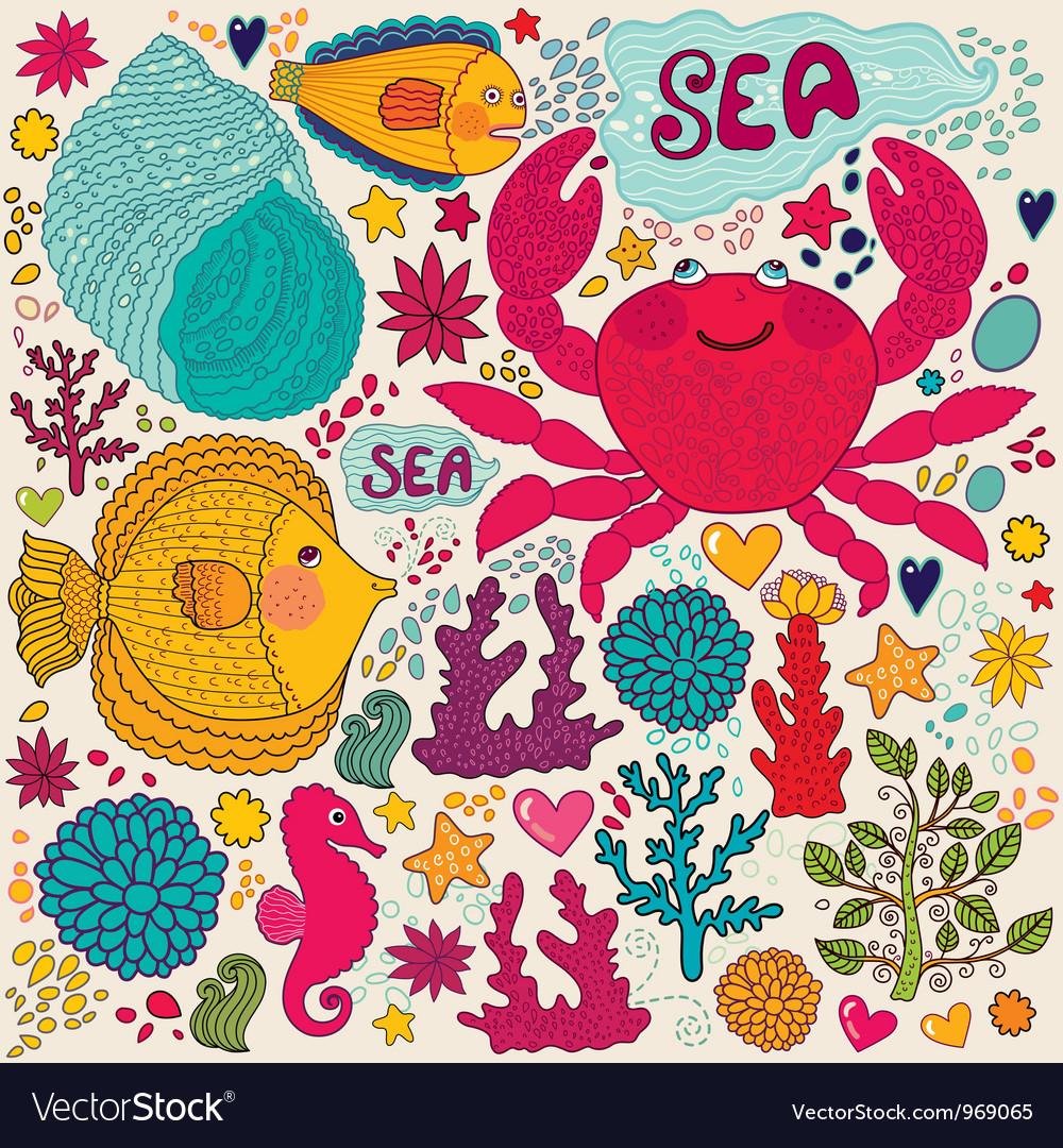 Crab print vector | Price: 3 Credit (USD $3)