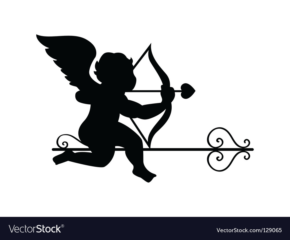 Cupid silhouette vector   Price: 1 Credit (USD $1)
