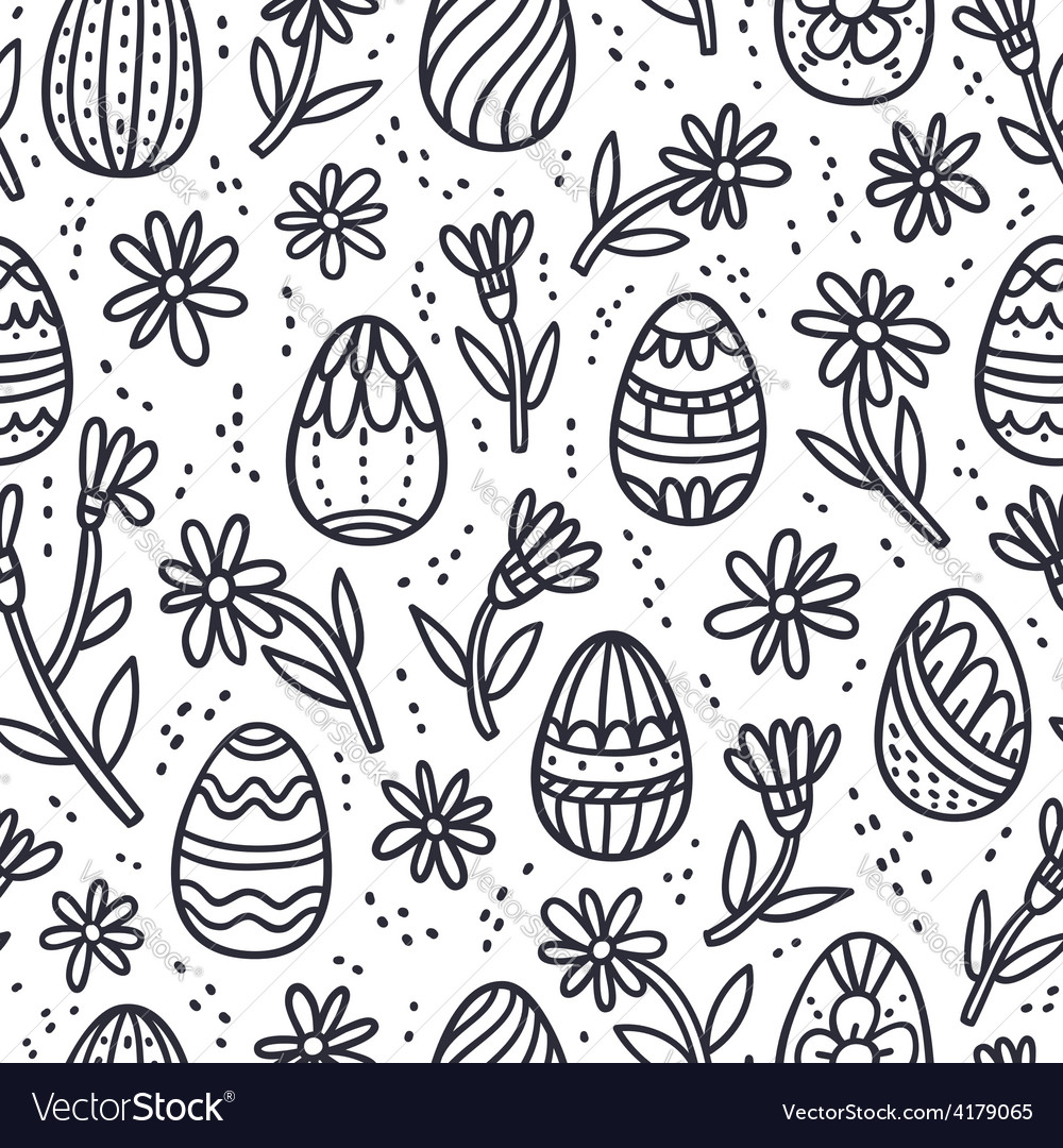 Decorative easter doodle eggs seamless pattern vector | Price: 1 Credit (USD $1)