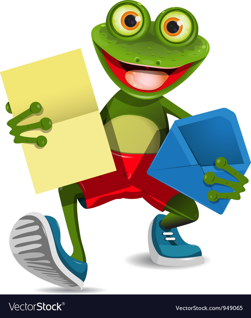 Frog with a letter vector | Price: 3 Credit (USD $3)