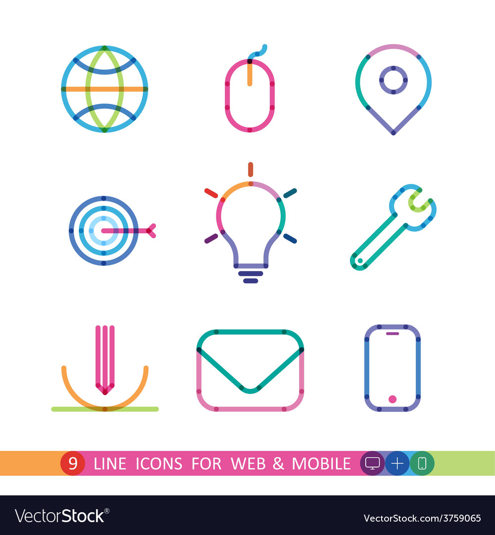 Set from 9 color universal icons for web and vector | Price: 1 Credit (USD $1)