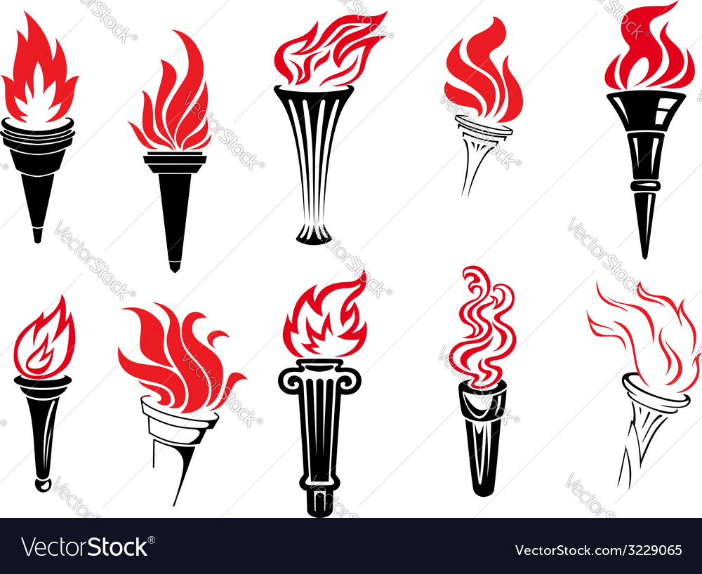 Set of burning torches vector | Price: 1 Credit (USD $1)