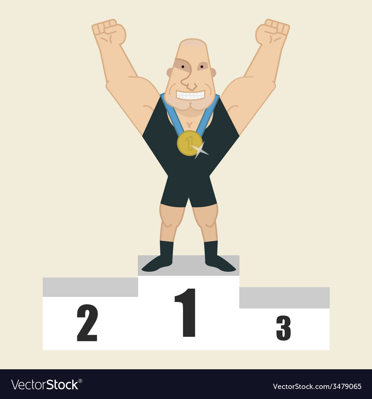 Sportsman standing on podium vector | Price: 1 Credit (USD $1)