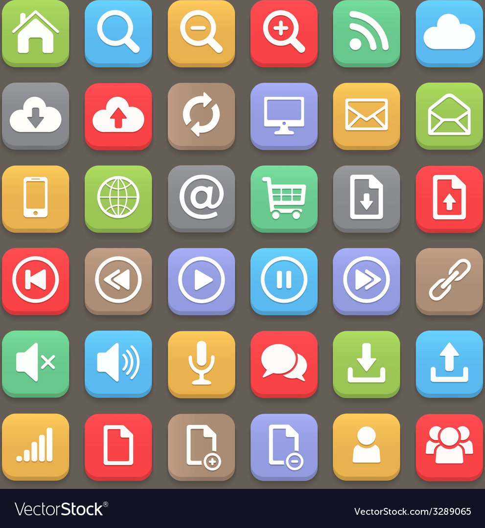 Web and internet flat icon set element vector | Price: 1 Credit (USD $1)