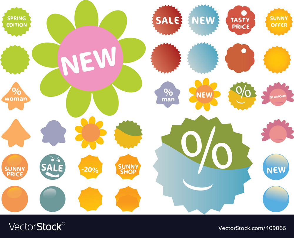 20 cute pink green stickers vector | Price: 1 Credit (USD $1)