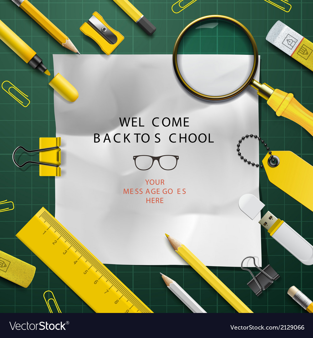 Back to school template with schools supplies vector | Price: 1 Credit (USD $1)