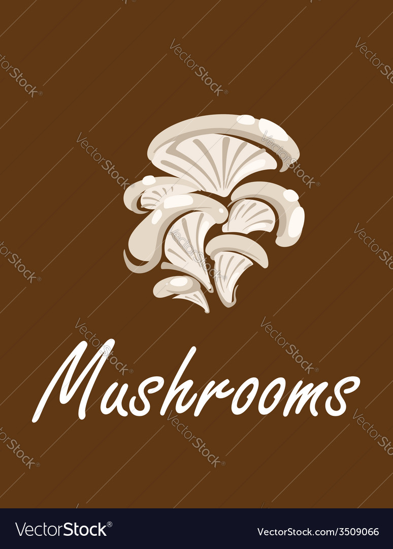 Bunch of oyster mushrooms with text mushrooms vector | Price: 1 Credit (USD $1)