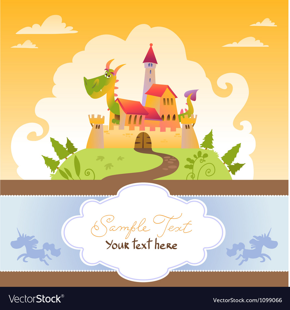 Card with cartoon dragon in castle vector | Price: 1 Credit (USD $1)